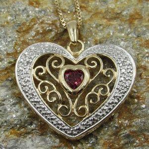 "Vintage 18"" Sterling Garnet Diamond Heart Necklace"